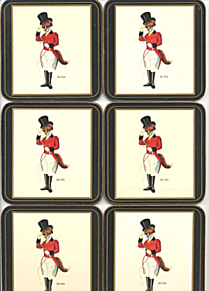 Pimpernel Sir Fox Made In England Set Of 6 Coasters