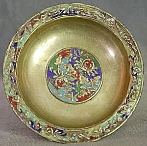 Vintage Brass Bowl With Enamel