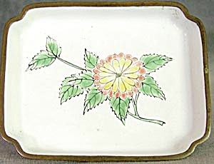 Vintage Enamel Ware Tray With Mum