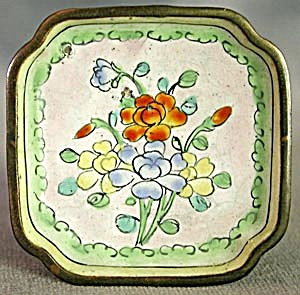 Vintage Enamel Ware Orange Flower Dish