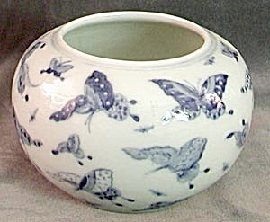 White With Blue Butterflies China Vase