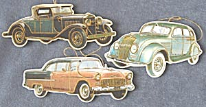 Vintage Cardboard Antique Cars Christmas Ornaments
