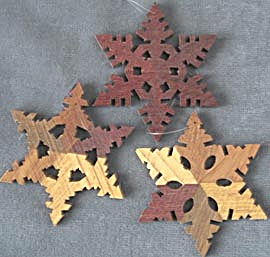 Vintage Wooden Snowflake Christmas Ornaments (Image1)