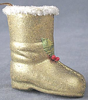 Vintage Gold Boot Christmas Ornament (Image1)