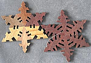 Vintage Wooden Snowflake Christmas Ornaments