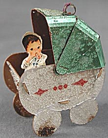 Vintage Paper Baby Buggy Christmas Ornament