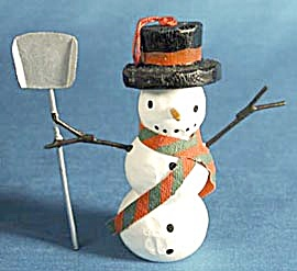 Snowman With Shovel Christmas Ornament