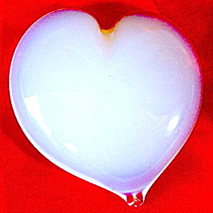 Vintage Opalescent Glass Heart Paperweight