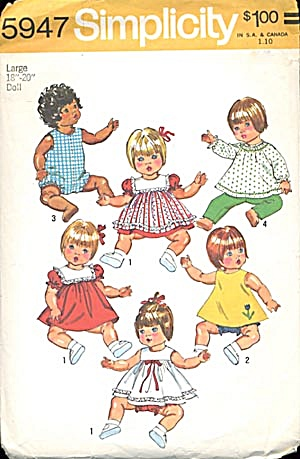 Simplicity Large Baby Doll Wardrobe Pattern (Image1)