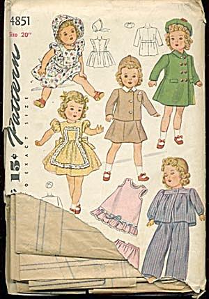 """Vintage Simplicity 20"""" Doll Wardrobe #4851 (Image1)"""