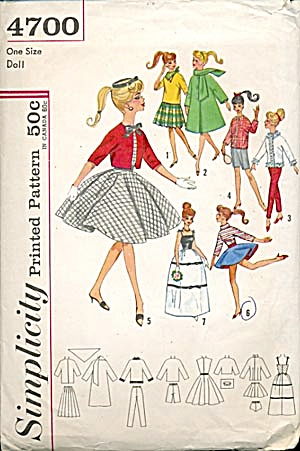 Vintage #4700 Simplicity Doll Wardrobe Pattern (Image1)