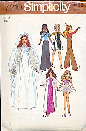 Simplicity #7210 Bride Doll & Wardrobe Pattern (Image1)