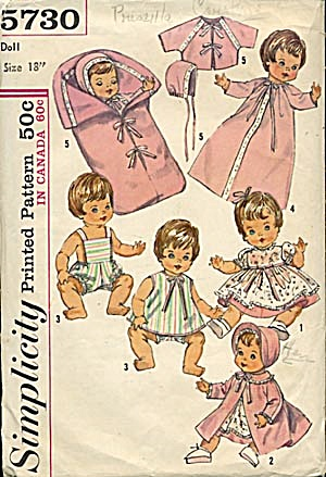 Simplicity Baby Doll Wardrobe Pattern (Image1)