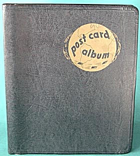 Vintage Black Postcard Album with Gold World (Image1)