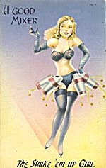 Vintage Cocktail Pinup Postcard (Image1)