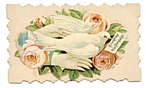 Vintage Calling Card Lady's Hand, Light Pink Roses (Image1)