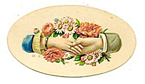 Vintage Calling Card Lady and Man Holding Hands (Image1)