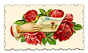Vintage Calling Card Lady's Hand Holding Rolled Paper