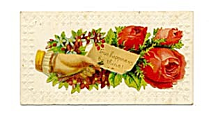 Vintage Calling Card Lady's Hand, Red Roses (Image1)