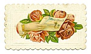 Vintage Calling Card Large Red Roses