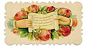 Vintage Calling Card Hands Holding a Scroll (Image1)