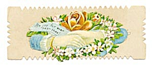 Vintage Calling Card 2 Hands Shaking, Wreath of Daisies (Image1)