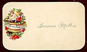 Vintage Calling Card White, Yellow And Pink Roses