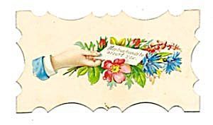 Calling Card Man's Hand  Surrounded by Wildflowers (Image1)