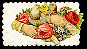Vintage Calling Card Dark Pink Roses (Image1)