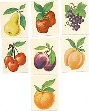 Vintage Meyercord Decal Fruit Set Of 7