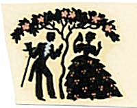 Vintage Meyercord Man & Woman Silhouette Decal (Image1)