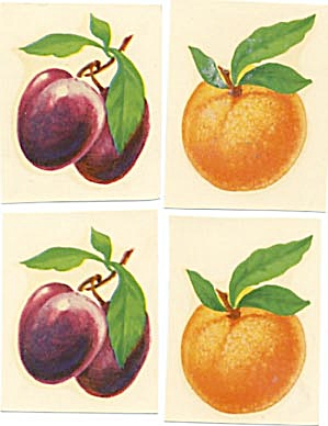 Vintage Meyercord  Decal Fruit Set of 4 (Image1)
