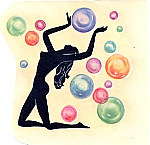 Vintage Meyercord Decal Art Deco Silhouette Bubble Girl (Image1)