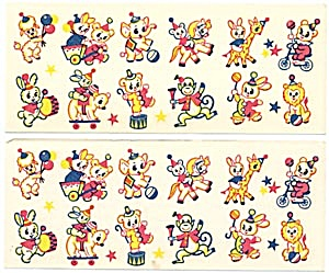 Vintage Meyercord  Tiny Animals Decal Set of 2 Sheets (Image1)