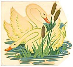 Vintage Meyercord Decal Swans (Image1)