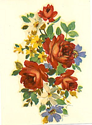 Vintage Meyercord Decal Red Roses & Blue Gentian