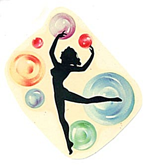 Decal Art Deco Silhouette Bubble Girl On Tip Toe (Image1)