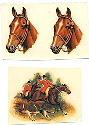 Vintage Meyercord Decal Horse Heads & 2 Hunters (Image1)