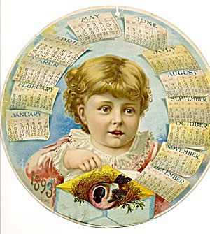 Antique Circular Calendar From 1893 (Image1)