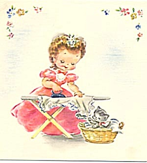 Vintage Card: Girl Ironing with Kitten (Image1)