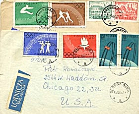 Vintage 12 Envelopes with Polish Olympic Stamps (Image1)