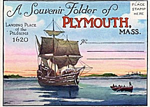 Fold Out Souviner Postcard Booklet Plymouth, Mass. (Image1)