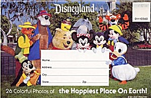 Fold Out Souviner Postcard Booklet Disneyland (Image1)