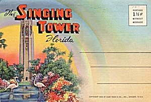 Fold Out Souviner Postcard Booklet Singing Tower (Image1)