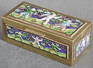 Vintage Brass & Enamel Stamp Box