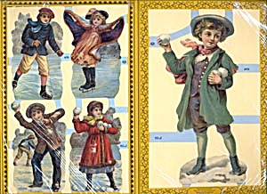 Die Cuts of Children Playing in Winter Set of 3 Sheets (Image1)