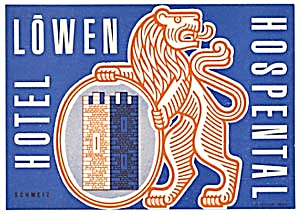 Vintage Luggage Label: Hotel Lowen Hospental (Image1)
