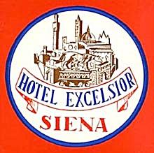 Vintage Luggage Label: Hotel Excelsior Siena (Image1)