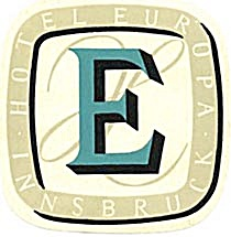 Vintage Luggage Label: Hotel Europia Innsbruck (Image1)