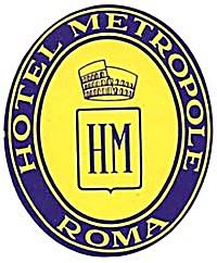 Vintage Luggage Label: Hotel Metropole Roma (Image1)